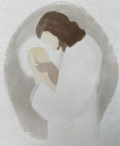 watercolor of Jesus holding a child
